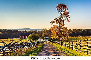 suciedad, granja, pennsylvania., otoño, colores, gettysburg, camino
