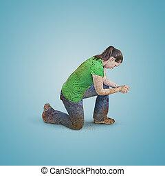 sucio, mujer, praying.