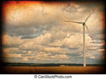 sucio, plano de fondo, con, molino de viento, motivo