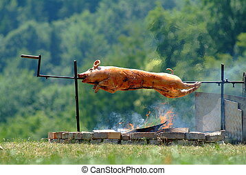 suckling pig on spit outside