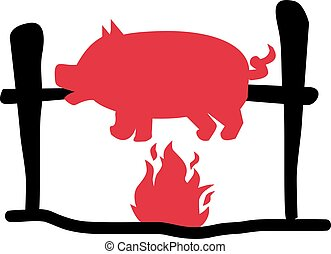 Suckling pig over flame