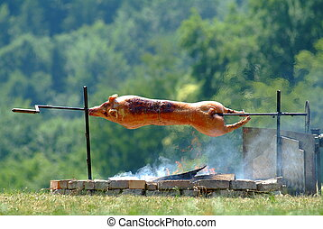 suckling pig - a hot suckling pig on spit outside