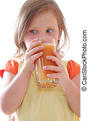 suco, bebendo, cenoura, criança