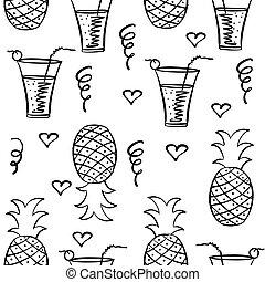 suco, desenhar, mão, doodle