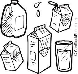 suco, esboço, caixas papelão, leite