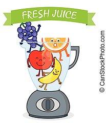 suco, fazer, fruta, liquidificador