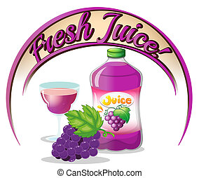suco, fresco, uvas, etiqueta