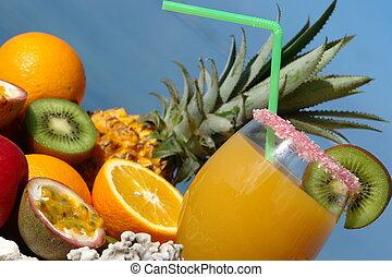 suco, fruta, vidro