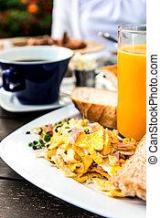 suco, frutas frescas, laranja, tabela, pequeno almoço