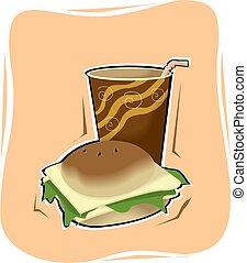 suco, hamburger, vidro