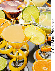 suco laranja, em, copo coquetel