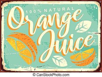suco laranja, lata, retro, sinal