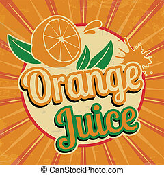suco laranja, vindima, cartaz