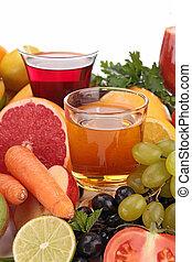 suco, legumes, frutas