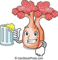 suco, mascote, planalto, árvores, garrafa