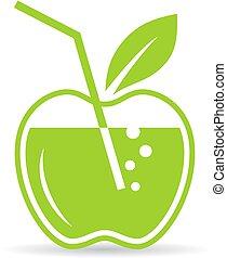 suco, natural, maçã, ícone