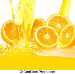 suco, queda, laranjas, fresco