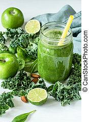 suco, smoothie, misturado, vidro, verde, garrafa, branca, detox, ou