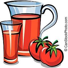 suco tomate, jarro