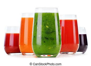 sucos, isolado, vegetal, fresco, branca, óculos
