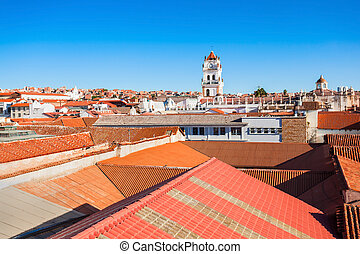 Sucre aerial view from the Church of San Felipe Neri viewpoint, in Sucre, Bolivia