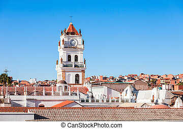 Sucre Cathedral is located on Plaza 25 de Mayo square in Sucre, Bolivia