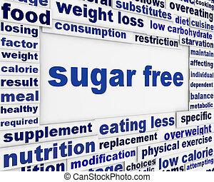 sucre, gratuite, message, fond, conception