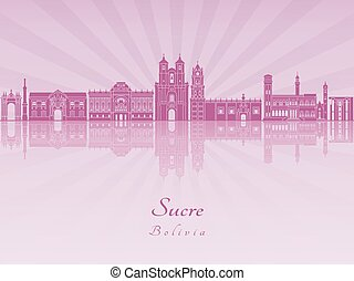 Sucre skyline in purple radiant orchid