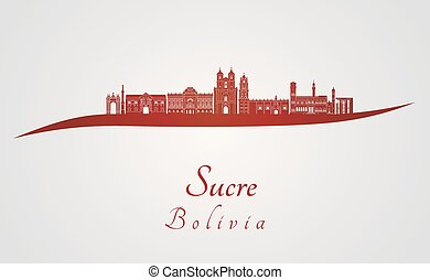Sucre skyline in red