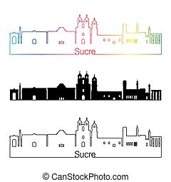 Sucre skyline linear style with rainbow