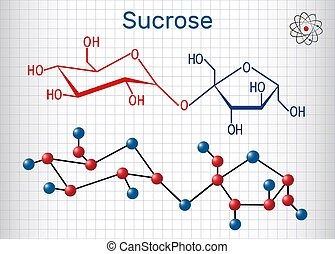 Sucrose sugar molecule. Structural chemical formula and molecule model. Sheet of paper in a cage