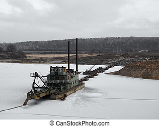 suction dredge in winter