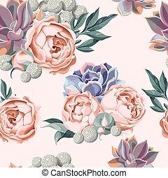 suculento, rosas, peonía, seamless