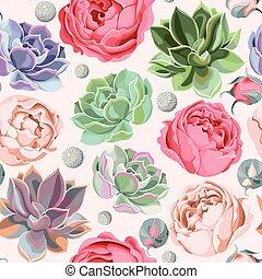 suculento, seamless, peonía, rosas