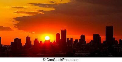 sudáfrica, ciudad, silueta, johannesburg, ocaso
