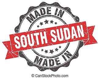 sudán, hecho, redondo, sur, sello