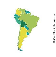 sud america, mappa, colorato