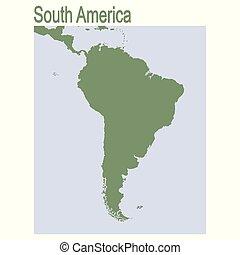 sud, continente, america, vettore, mappa