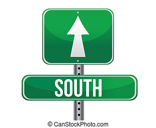 sud, direzione, geografico, segno strada