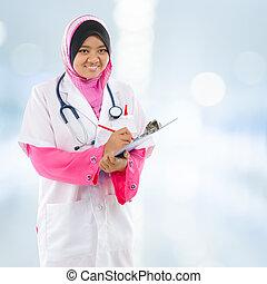 sud-est, medico, musulmano, asiatico, student.