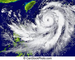 sud-est, ouragan, asie, approchant