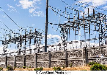sud, francisco, électricité, tension, baie, san jose, élevé, transmission, sous-station, tours, californie, area;, lignes, puissance