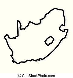 sud, map-, vecteur, noir, illustration, contour, afrique