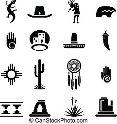 sud-ouest, ensemble, icônes