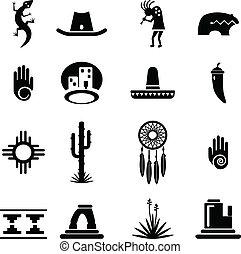 sud-ovest, icone, set