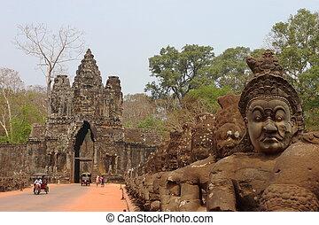 sud, portail, dans, angkor, siem, récolter,