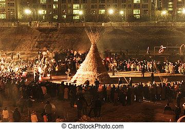 sud, traditionnel, corée, événement culturel, daeboreum