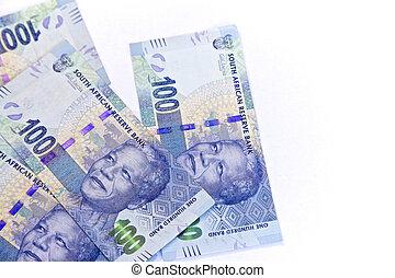 sudafricano, nuovo, cento, banconote