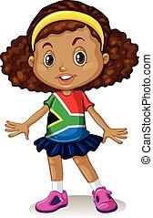 sudafricano, ragazza, levarsi piedi solo