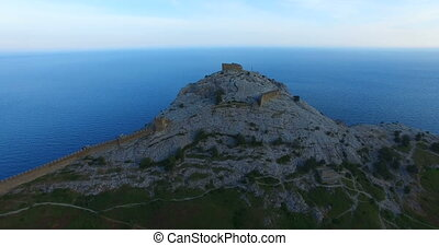 Aerial view of the Genoese fortress on a Sunny summer evening.